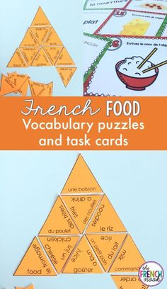 la nourriture French food vocabulary puzzle and task cards Food Vocabulary, Vocabulary Cards, Vocabulary Activities, French Articles, French Resources, Learning French For Kids, Teaching French, High School French, French Class