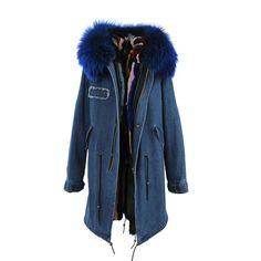 JAZZEVAR Winter new fashion woman Long real fur collar hooded parkas outwear detachable rabbit fur liner winter jacket coat