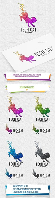 TechCat Logo Template Vector EPS, AI Illustrator