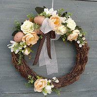 Easter Wreaths, Cute Crafts, Decoration, Grapevine Wreath, Grape Vines, Spring, Flowers, Diy, Home Decor