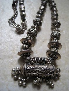 Vintage tribal silver amulet necklace from India | High grade silver