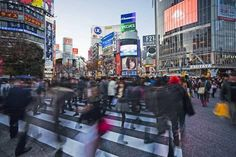 Photographic Print: Shibuya Crossing, Crowds of People Crossing the Intersection in the Centre of Shibuya, Tokyo by Gavin Hellier : 24x16in