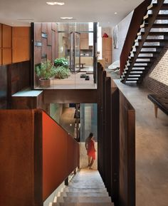 Inverted Warehouse-Townhouse, Dean-Wolf Architects, NYC. The use of cor-ten steel defines the indoor and outdoor spaces in this Tribeca townhouse.