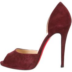 Christian Louboutin Suede Peep-Toe Pumps (1,595 PEN) ❤ liked on Polyvore featuring shoes, pumps, red, red suede pumps, suede leather shoes, suede pumps, peep toe shoes and peep-toe shoes