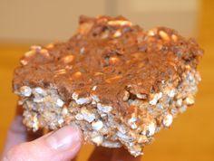 Healthy Chocolate Peanut Butter Rice Krispie Treat- 110 calories, score :)