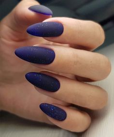 22 Of The Exceptional Galaxy Nail Art Designs Best for Night Parties - Nails , Almond Nails Designs, Blue Nail Designs, Acrylic Nail Designs, Cute Acrylic Nails, Matte Nails, My Nails, Gradient Nails, Dark Gel Nails, Dark Nail Art