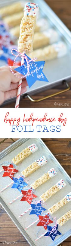 These Happy Independence Day Foil Tags are perfect to tie onto a treat, goodie bag, or something else fun! The foil sure makes them the star! ;)