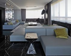 Architecture, White Leather Chaise Lounge Sofa Bed For Modern Apartment Living Room Design With Golden Cushion And Large Black Marble Tile Floor Plus Stainless Steel Table And Indoor Black Lounge Chair ~ Scratching Apartment in Buenos Aries