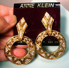 Anne Klein Rhinestone & Gold Hoop Earrings, Clip Backs w Sparkling Geometric Designs, Thrones Game Or Medieval Gold Hoop Earrings, Vintage Earrings, Clip On Earrings, Anne Klein, Geometric Designs, Medieval, Sparkle, Game, Gifts