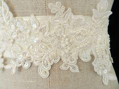 Alencon Lace Pearl Appliqued Bridal Sash. Look at shop.