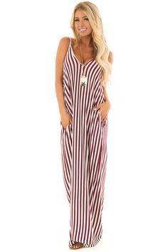 Burgundy and Cream Stripe Maxi Dress with Pockets Cute Boutiques, Striped Maxi Dresses, Fabulous Dresses, Boutique Dresses, Burgundy, Cold Shoulder Dress, Pockets, Cream, Beauty