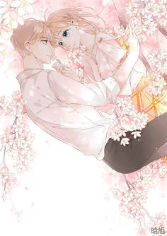From manga Love is Cherry pink or Love is a Cherry Pink Color Anime Couples Drawings, Anime Couples Manga, Chica Anime Manga, Anime Guys, Manga Couple, Anime Love Couple, Anime Cherry Blossom, Cherry Blossoms, Manga Romance