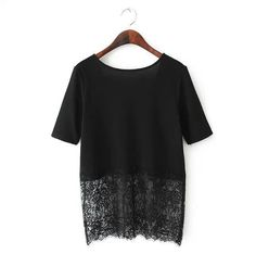 Chiffon Mesh Lace Swing Street T-Shirt Women White Black Top V-Neck Shirts Ropa Feminina Camisetas Mujer Summer Style 2016