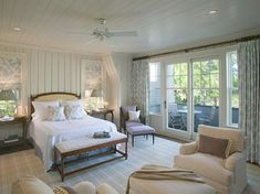 Relaxing bedroom with white linens.