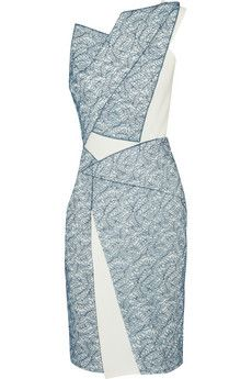 Roland Mouret Suhail Chantilly lace and stretch-crepe dress | THE OUTNET