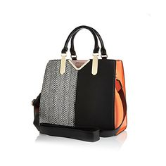 Black and orange split front tote bag £40 #riverisland