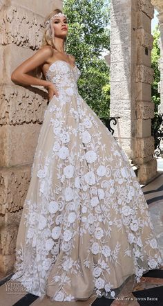 ashley justin spring 2018 bridal strapless sweetheart neckline full embellishment romantic ivory color a line wedding dress short train (9) sdv -- Ashley #weddinggowns
