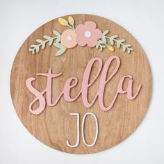Floral wood sign for kids rooms, #handmade wood decor, #shopsmall wood decor for kids rooms, #nursery decor ideas // #modwoodco