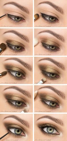 smoky eye with bronze/gold shadows