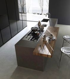 Design kitchens Blade are the most important collection of Modulnova; Modern Kitchen made to celebrate first twenty Years of the Company Kitchen Room Design, Modern Kitchen Design, Home Decor Kitchen, Kitchen Living, Interior Design Kitchen, Home Kitchens, Interior Modern, Kitchen Ideas, Home Bar Areas