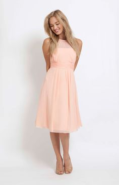 peach bridesmaid dresses | Catherine Short Peach from Maids to Measure