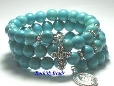 https://www.etsy.com/listing/162942116/turquoise-memory-wire-rosary-bracelet