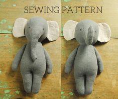 Elephant Stuffed Animal, Sewing Stuffed Animals, Stuffed Animal Patterns, Stuffed Animal Diy, Animal Sewing Patterns, Doll Patterns, Dress Sewing Patterns, Pattern Dress, Pattern Sewing