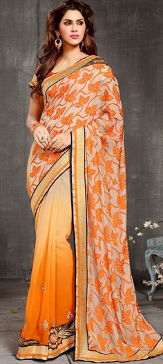 FLORAL PALLU - every #saree is known by the art done on its pallu. This one has embroidered flowers.  #IndianWedding #ombre #Partywear #women #onlineshopping