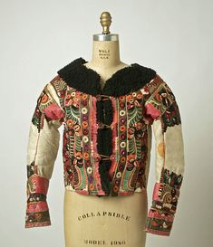 Jacket (ködmön) Date: late Culture: Hungarian Medium: leather, wool Hungarian Embroidery, Folk Embroidery, Textiles, European Costumes, Costumes Around The World, Leather Art, Historical Clothing, Historical Dress, Folk Costume