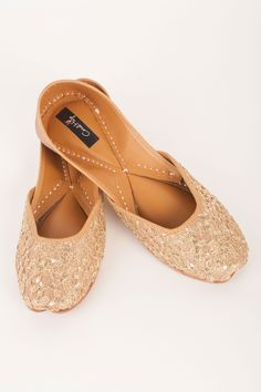 Golden Glittery Gold Jutti By Coral Haze  Shop Now at http://www.onceuponatrunk.com/designers/coral-haze #onceuponatrunk #shopnow #jutti #fashion #style #india #onlineshopping #shopping #footwear #ethnic #accessories #delhi