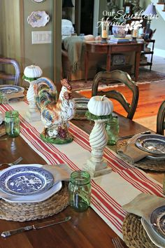 s 10 easy breezy ways to bring fall into every room, home decor, seasonal holiday decor, Mix Tableware Colors in the Dining Room