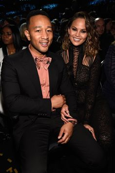 Pictured: John Legend and Chrissy Teigen Celebrity Couples, Celebrity Photos, Celebrity Style, Chrissy Teigen Style, Grammys 2017, Kid Ink, Chance The Rapper, Music Promotion, Famous Couples