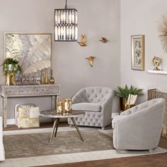 Decmode - Traditional Dove Gray Tufted Arm Chair, 32 x 30 Size: x Glam Living Room, Elegant Living Room, Formal Living Rooms, Home And Living, Living Room Decor, Elegant Home Decor, Luxury Home Decor, Foyers, Living Room Inspiration