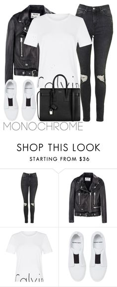 """""""Untitled #2734"""" by elenaday ❤ liked on Polyvore featuring Topshop, Acne Studios, Calvin Klein, Pierre Hardy, Yves Saint Laurent and monochrome"""