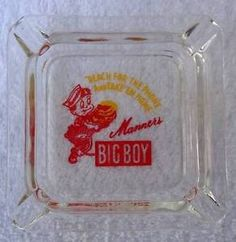 ADVERTISING GLASS ASHTRAY MANNERS BIG BOY VINTAGE #ds9