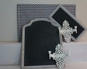 x approx-Cork board wrapped with charcoal grey chevron print to upgrade a functional stand by into a beautiful message board accented with silver finishing. The picture with multiple items is a true representation on the colors, Grey Chevron, Spring Collection, Message Board, Esty, Unique Jewelry, Handmade Gifts, Cork, Charcoal, Silver