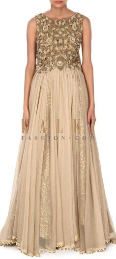 Buy this Beige gown with bodice embellished in motif and zardosi only on Kalki