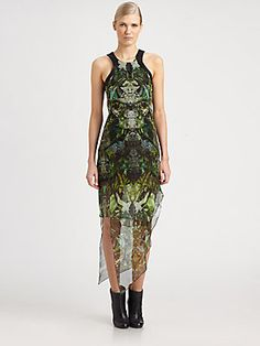 Helmut Lang Cicada-Print Silk Chiffon Dress