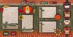 GIVE THANKS~ 2 premade scrapbook pages paper 4 album thanksgiving BY CHERRY