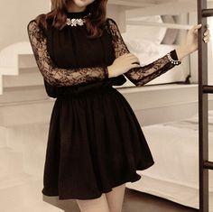 Lace stitching round neck long-sleeved dress #ER102511UY
