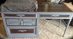 """Painted with Miss Mustard Seeds Milk Paint """"Dried Lavender"""" & Glaze Couture! Changing table/desk"""