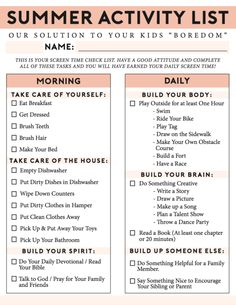 The Ultimate Summer Chores Checklist to Help Your Children Structure their Day! A Free Printable no screentime summer activity list for busting boredom, keeping the house clean and for kids to stay re List Of Activities, Summer Activities For Kids, Summer Kids, Activity List, Summer Fun List, Health Activities, Printable Activities For Kids, Family Activities, Craft Activities