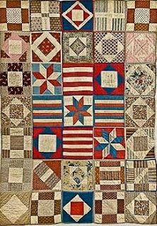 Civil War Sampler Quilt. I like the red, white and blue blocks in the center. Pretty. Ideas for farmer's wife blocks (eventually).