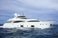 This 97-foot Ferretti yacht tops out at 35 knots and is available for charter starting at $52,000.