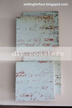 Make for your next party! DIY Drink Coasters using Mod Podge and decorative paper. So easy!  #diy #tutorial