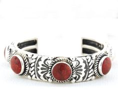 This Gorgeous Navajo Style Red Ox Blood Coral Five Stone Stamped Row Cuff Bracelet