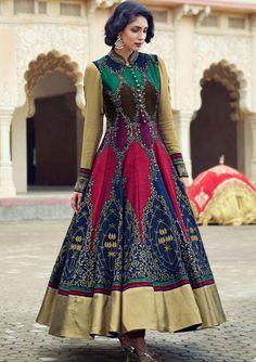 Mesmerizing Multicolor Anarkali Suit - Salwar Kameez - Women