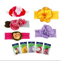 Bundle Monster 5pc Colorful Baby Girls Cotton Pretty Flower Hair Headband- Lot 2