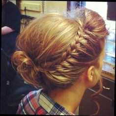 beautiful french plait with roller thingy on the bottom