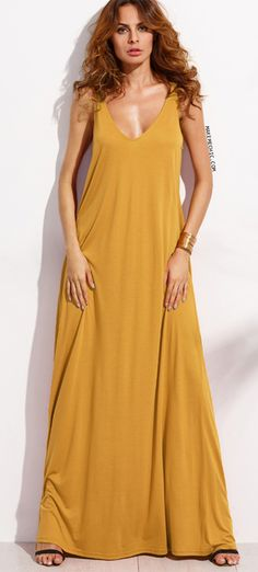 Double V Neck Jersey Tent Dress